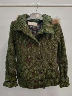 Winter edition green cardigan warm button on sweater