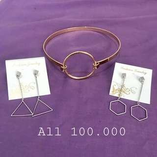 Bundle aksesoris anting kalung / choker