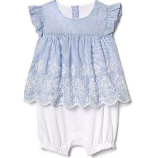🚚 GPGL290 BabyGap Baby Girls Eyelet double-layer One-piece Romper Blue