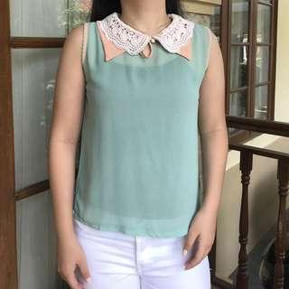 Korean Collar Cute Blouse (sleveless / tanpa lengan)