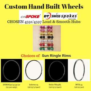 BZCYCLE Professional Custom Hand Build Wheels for 26er/27.5er/29er with loud&Smooth CHOSEN hubs+Sun Ringle rims