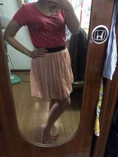 Peach stretchable skirt