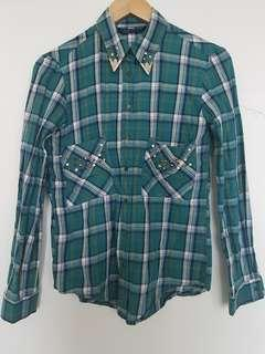 Clearance! ZARA Checkered Shirt with Embellishments