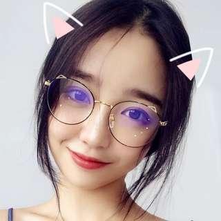 Black Rimmed Cat Ears Glasses