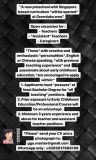 Teacher, Assistant, Care Giver , OB/OG , Security