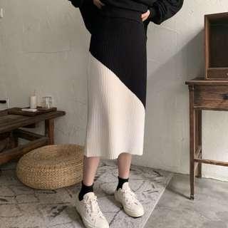 特價@針織毛料直筒高腰撞色斜切包臀裙