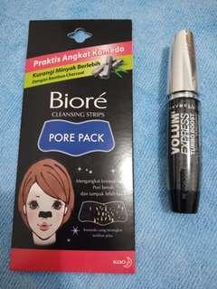 (Bundling) Maybelline Volum' Express Turbo Boost Mascara Original and Biore Cleansing Strips Pore Pack
