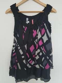 Strappy Printed Layered Silk Top