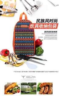 Selpa韓國民族風戶外露營野炊旅遊便捷餐具收納袋