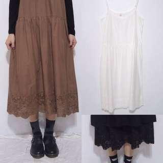 。error dot。日本鏤空繡花襯裙細肩帶洋裝