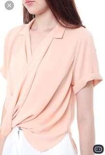 Mds sleeved wrap top in coral