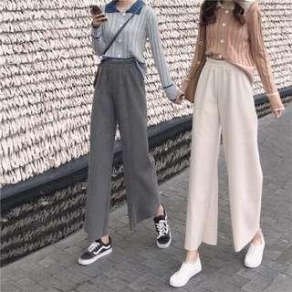 舒適簡約顯腿長顯瘦素色棉質直筒長褲