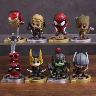 Avengers Iron Man Spider-Man Thor Hulk Groot Loki Cosbaby Mini Figure