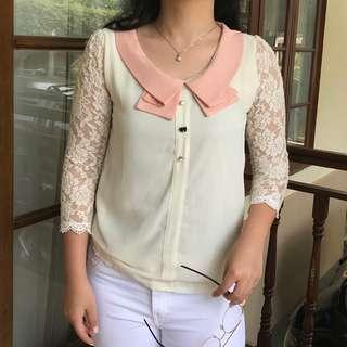 Korean Cute Blouse with lace cosplay pink