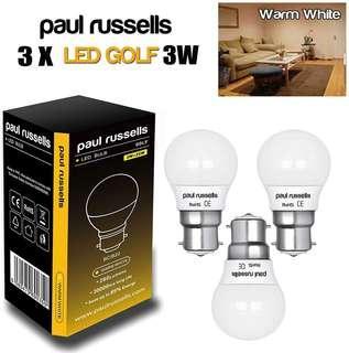 (E656) 3 Pack 3W Golf LED Light Bulbs B22 BC