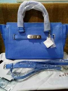 💯 AUTHENTIC COACH SWAGGER 27 IN PERIWINKLE BLUE WITH TAGS, CARDS AND DUSTBAG