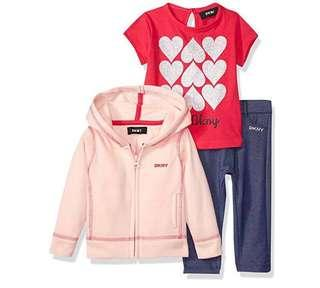🚚 BN DKNY Baby Girl 3 Piece Coral Hearts Jacket Pants Set! 18mths avail!