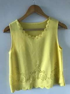 Yellow cut out design top