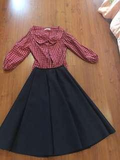 Off shoulder tops and A line skirt