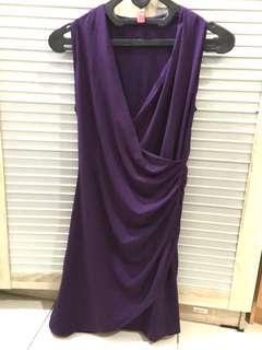 Mini dress semi formal / casual ungu tanpa lengan