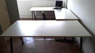 3 IKEA TABLES - 2 TABLES 1.8MX80CM AND 1 TABLE 1.2MX60CM