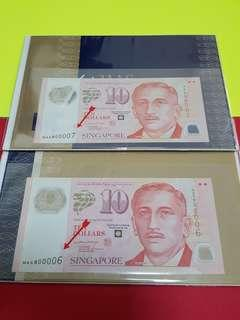 $10-MAS SIGN LHL RUNNING PAIR NICE SERIAL NO.@ MAS800006-MAS800007 UNC.
