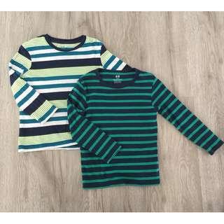 H&M Green Stripes Long Sleeves Tshirt Set