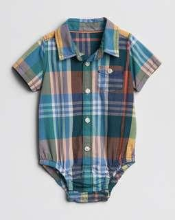 🚚 BN GAP Baby Boy Plaid Checkered Collared Romper 6-12mths & 18-24mths avail!