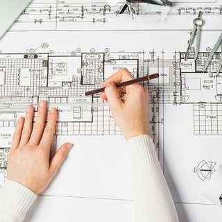 arsitek interior desain rumah bantu tugas kuliah kerjaan draft sketsa cat air kursus les software photoshop sketchup vray render
