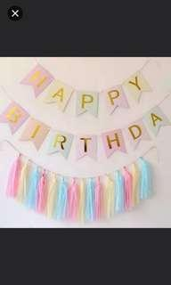 Colourful Happy Birthday Banner and tassels