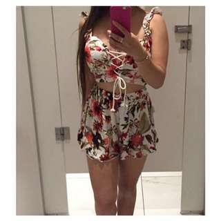 Floral Matching Top and Shorts