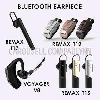 Bluetooth Earpiece Remax T12 T15 T17 & Voyager Legend V8