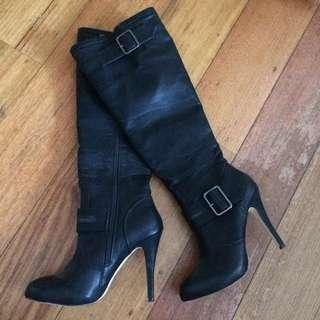 Betts black leather Knee length leather boots