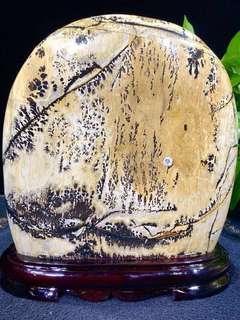 草花石擺件,礦石擺件 觀賞魚擺件 精美天然花紋草花石 天然花紋!