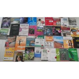 37 lower sec textbooks assessment books Maths Physics Chemistry Biology Science Geography History FCE