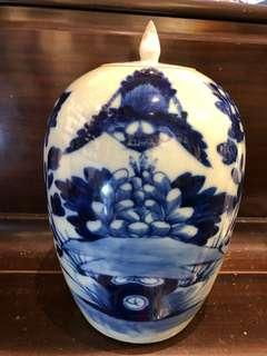 Qing Dynasty Blue and White Ginger Jar (清朝青花冬瓜罐)
