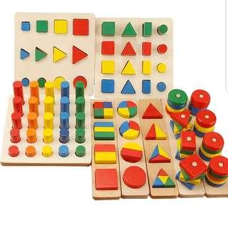 8 sets Wooden Educational Geometric Puzzles Montessori Teaching Aids Alphabets Numbers