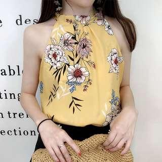 (4Col) Floral Patterned Printed Halter Neck Top