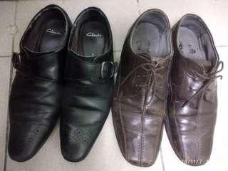 Clarks leather shoes uk8(hitam)