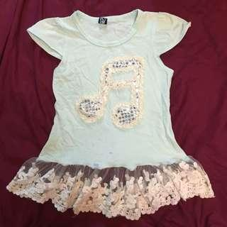 Light Mint Green Lace Top 4Y