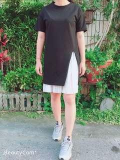 長板短T+百摺裙套裝