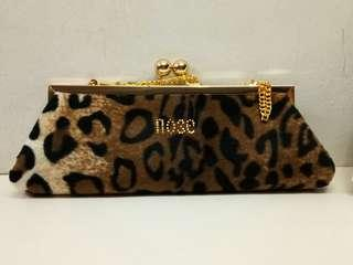 Faux leopard evening bag