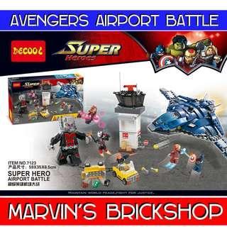 DECOOL 7123 Super Hero Avengers Airport Battle Building Blocks Toy