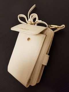 米白色進口皮雙層設計斜背小皮夾銀包 (面層可放電話)