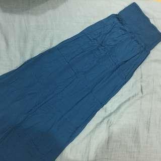 土耳其藍長裙 鬆緊腰