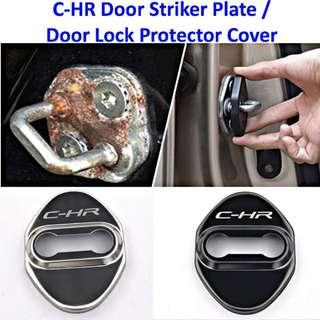 Car Door Striker Plate Cover Door Lock Protection Cover With C-HR Logo Stainless Steel 4 Pcs Shinning Good Quality