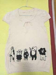 淺粉針織長版T(下擺有可愛動物)#半價衣服拍賣會