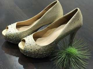 Pazzion gold embellished heals