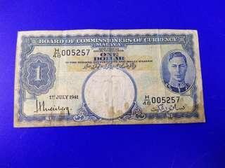 Malaya 1941 $1 note