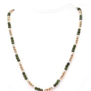 """Gorgeous Vintage Jade Pearl 14K Yellow Gold 23.5"""" Long Bead Necklace 15.4 Grams ( VGC)"""